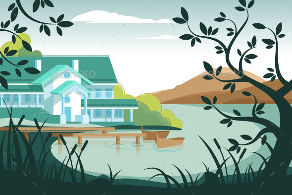 Country House on River Bank - Landscapes Nature