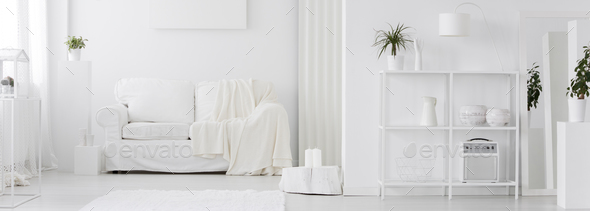 White living room interior - Stock Photo - Images