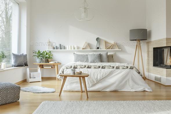 Cozy, spacious bedroom interior - Stock Photo - Images