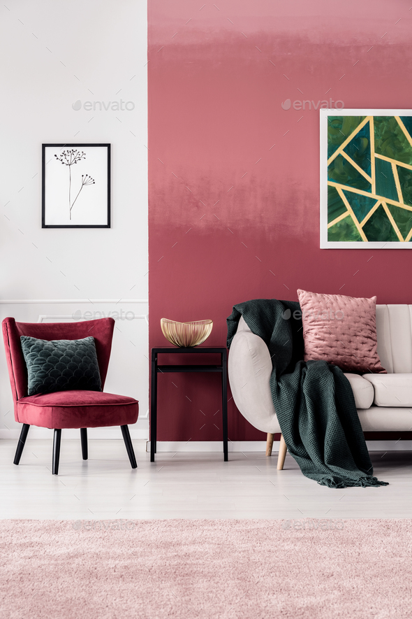 Feminine living room with sofa - Stock Photo - Images