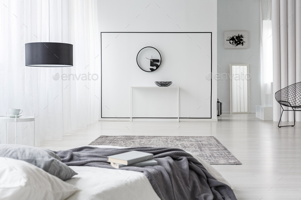 Modern bedroom interior with clock - Stock Photo - Images