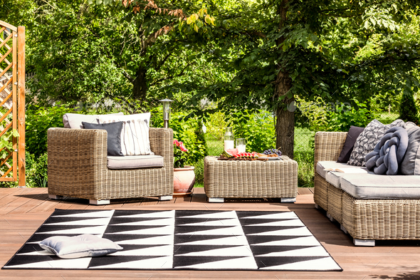 Garden furniture and rug - Stock Photo - Images
