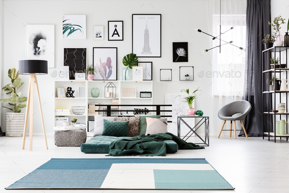 Blue and green spacious bedroom - Stock Photo - Images