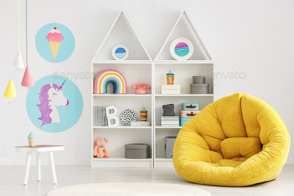 Colorful scandi kid's room interior - Stock Photo - Images