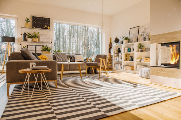 Nordic style living room interior with striped carpet, corner co