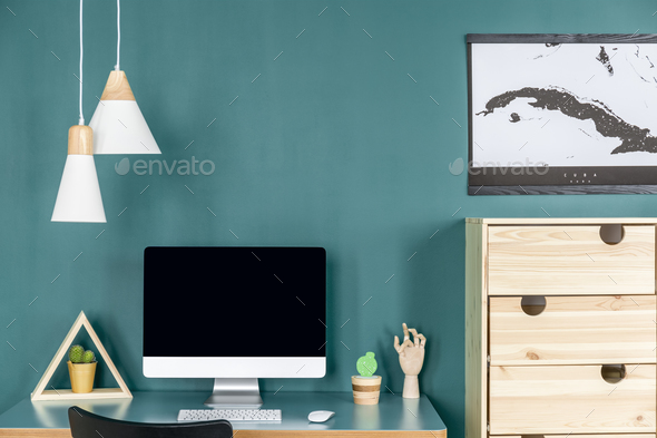 Green home office interior - Stock Photo - Images