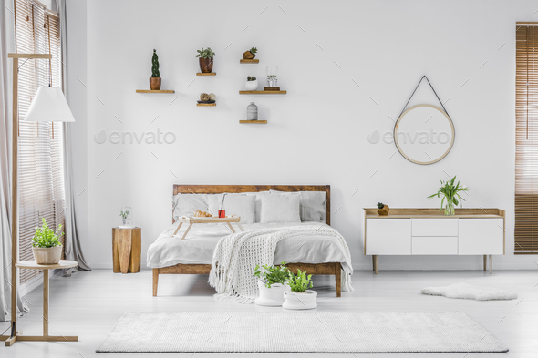 Natural white bedroom interior - Stock Photo - Images