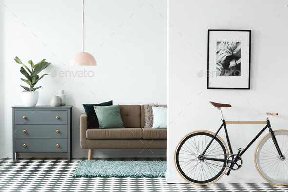 Black bike in living room - Stock Photo - Images
