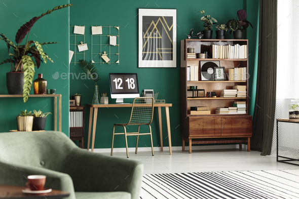 Gold and green cozy apartment - Stock Photo - Images