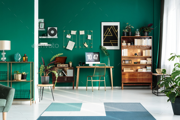 Teal interior with modern workspace - Stock Photo - Images