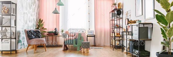 Girl room with metal furniture - Stock Photo - Images