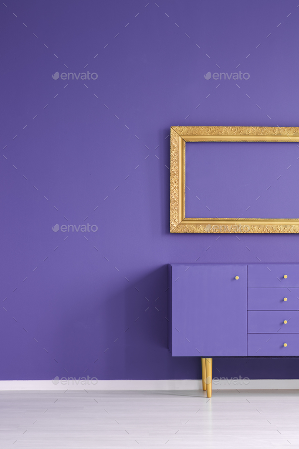 Violet room interior with mockup - Stock Photo - Images