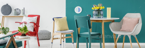 Colorful chairs in room - Stock Photo - Images