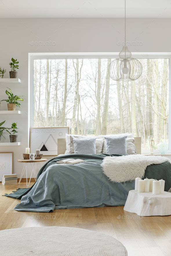Green bright bedroom interior - Stock Photo - Images
