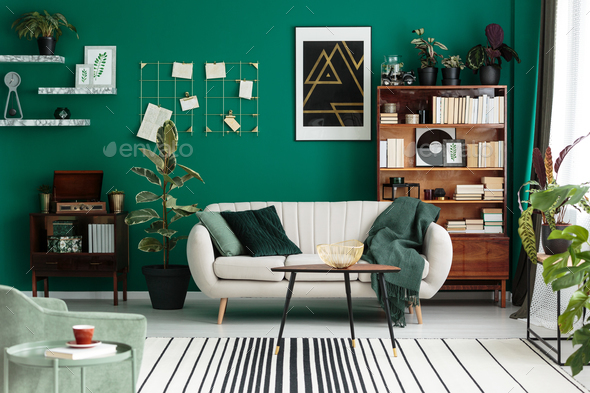 Modern design botanic living room - Stock Photo - Images
