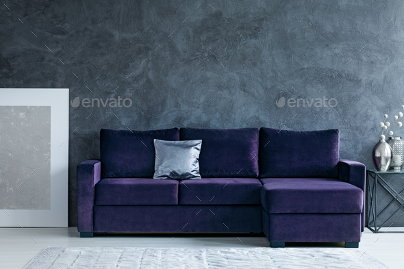 Grey and purple living room - Stock Photo - Images