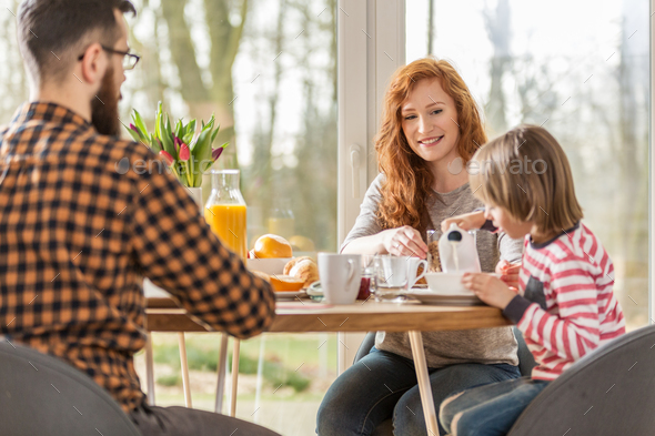 Family having breakfast - Stock Photo - Images