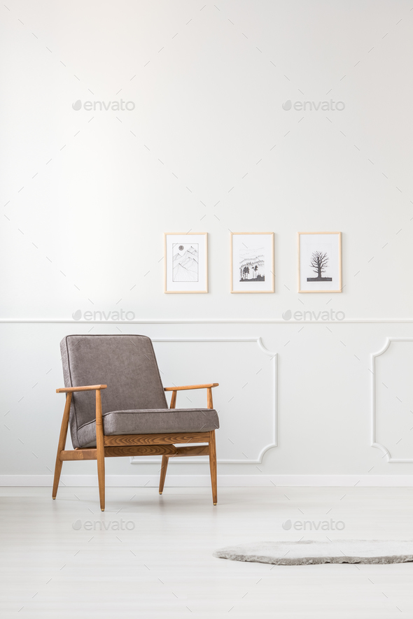 Grey simple living room interior - Stock Photo - Images