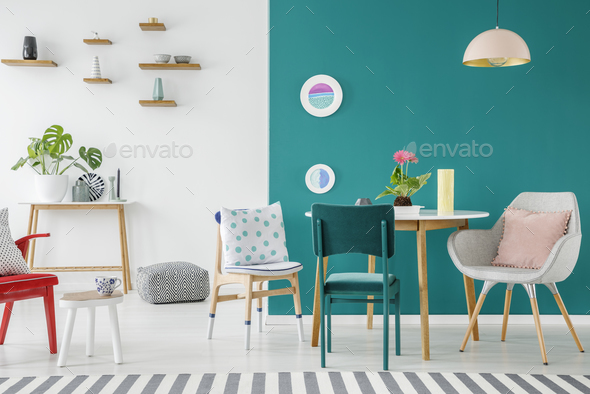Green apartment interior - Stock Photo - Images