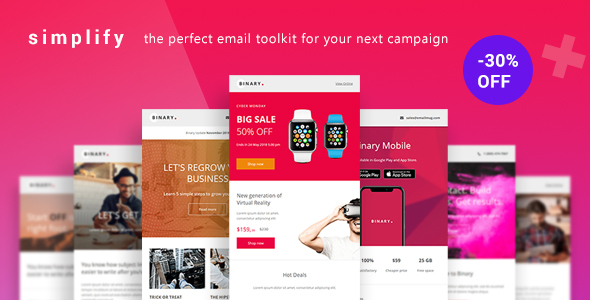 Image of Simplify - Responsive Email Newsletter for Businesses with +100 Modules +20 Template