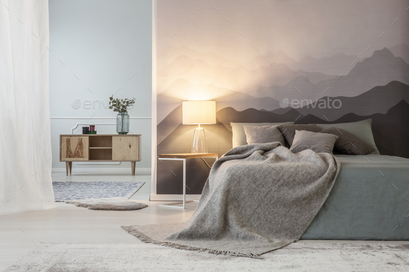 Light in mountain bedroom interior - Stock Photo - Images