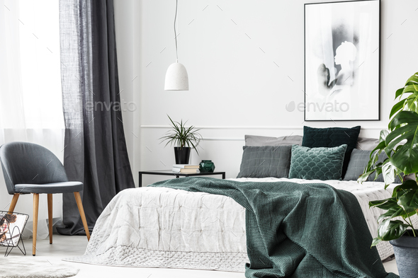 Emerald green bedroom interior - Stock Photo - Images