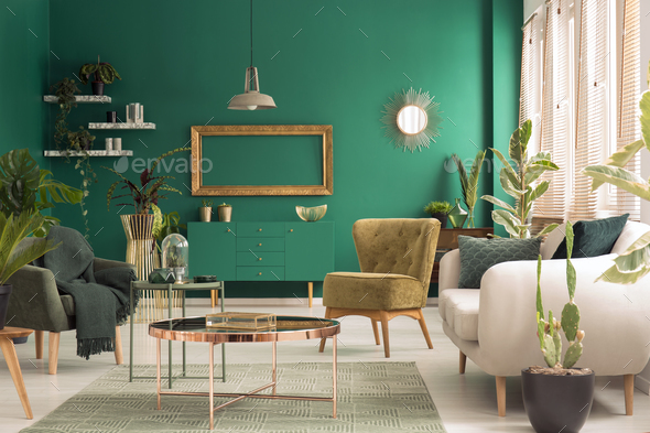 Green living room interior - Stock Photo - Images