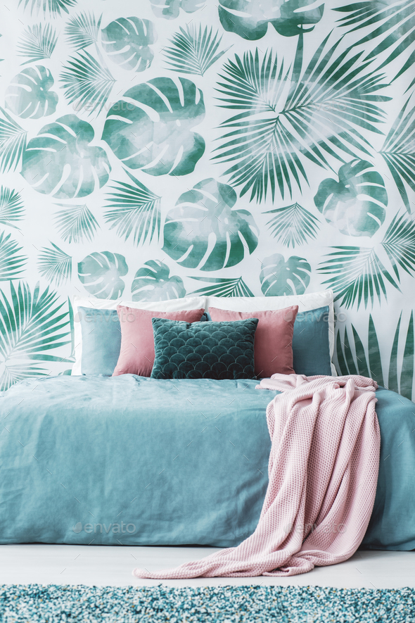 Room with leaf wallpaper - Stock Photo - Images