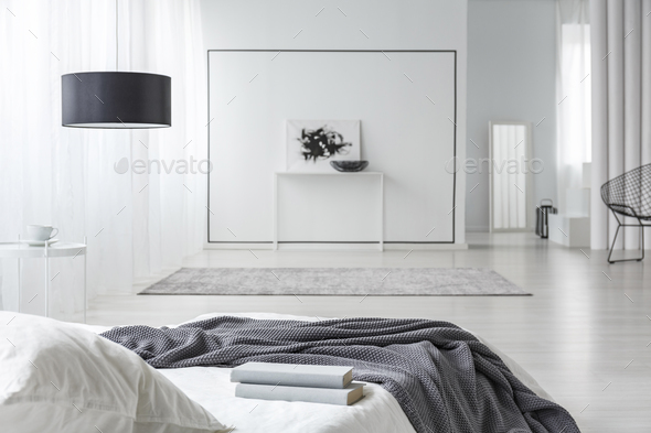 Spacious minimal bedroom interior - Stock Photo - Images
