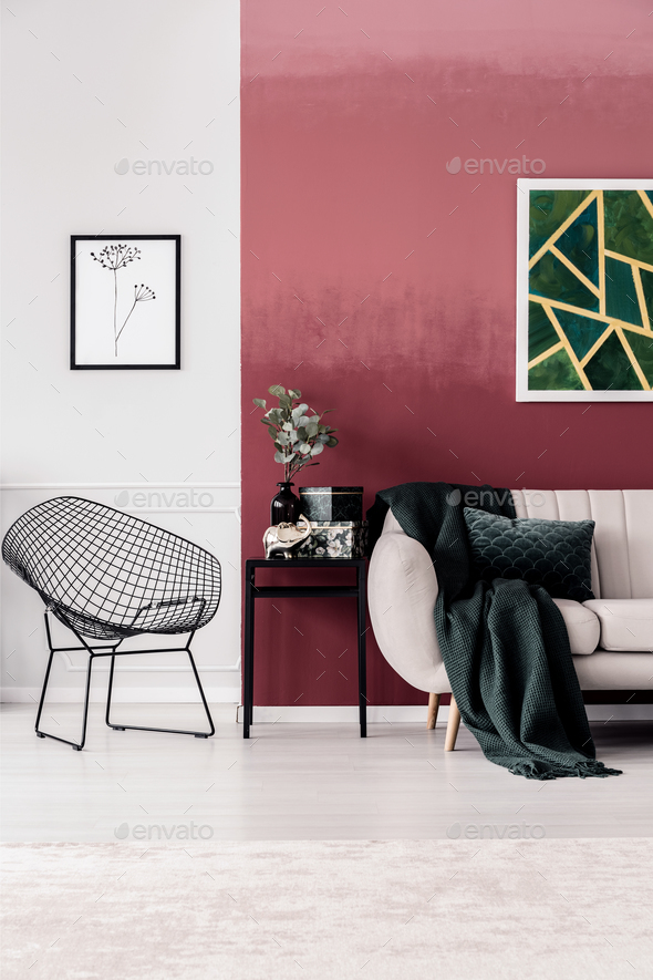 Green painting in living room - Stock Photo - Images
