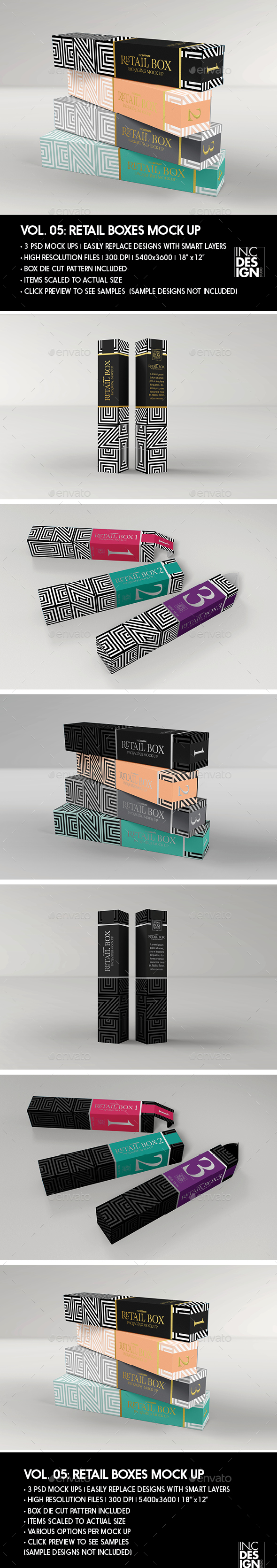 Retail Boxes Vol.5: Narrow Cosmetic or Perfume Box Packaging Mock Ups - Beauty Packaging