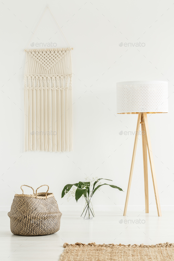 Peaceful zen living room interior with jute decorations, tripod - Stock Photo - Images
