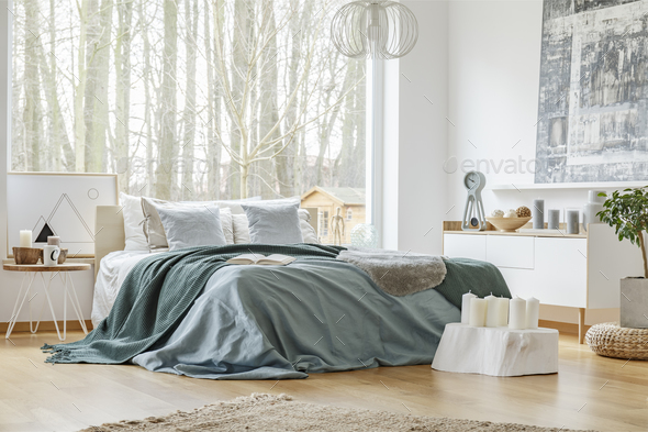 Green and blue bright bedroom - Stock Photo - Images