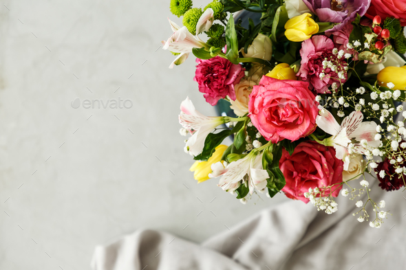 Top view of a colorful bouquet of beautiful flowers in the corne - Stock Photo - Images