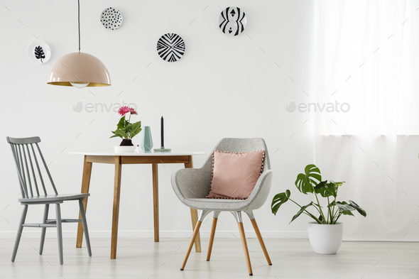 Grey and pink dining room - Stock Photo - Images