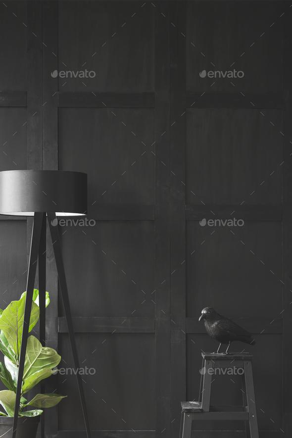 Dark minimal living room - Stock Photo - Images