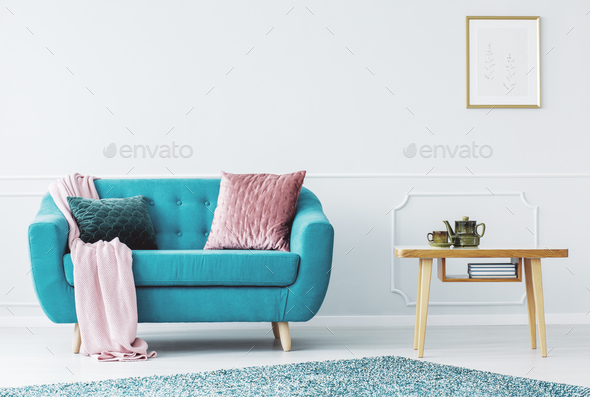 Blue sofa with pillows - Stock Photo - Images