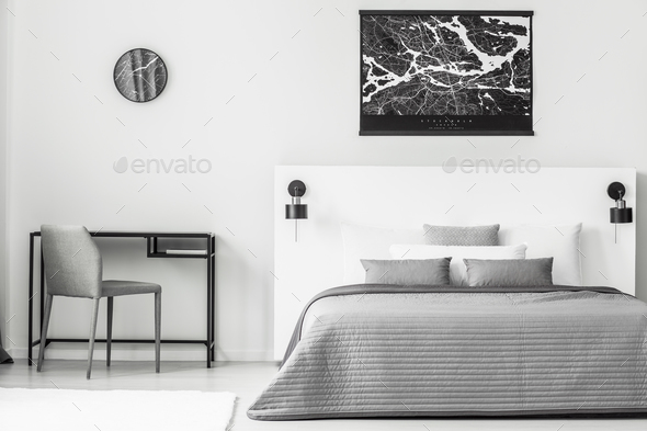 Black poster in bedroom interior - Stock Photo - Images