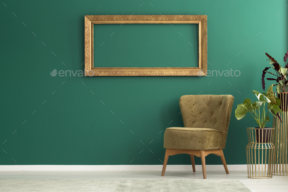 Empty gold frame - Stock Photo - Images