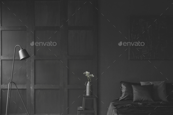 Black dark bedroom interior - Stock Photo - Images