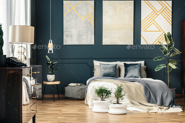 Bright interior with bed - Stock Photo - Images