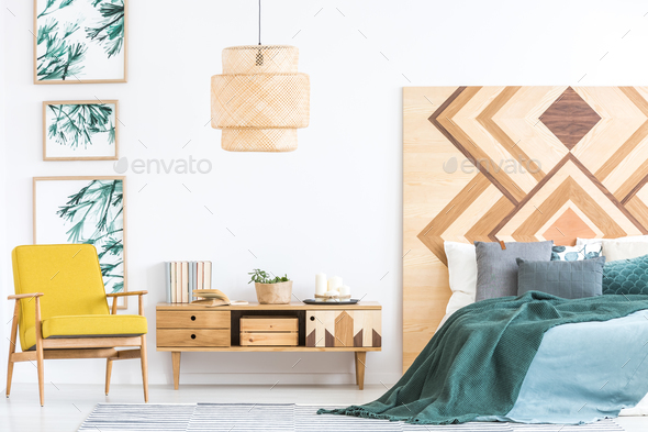 Yellow and green bedroom interior - Stock Photo - Images