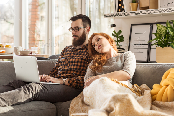 Husband working at home - Stock Photo - Images