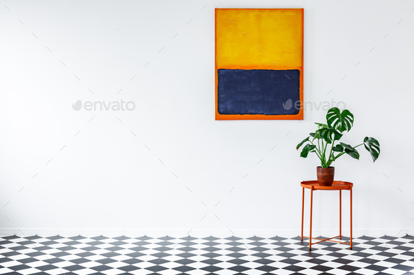 Orange flat interior with plant - Stock Photo - Images