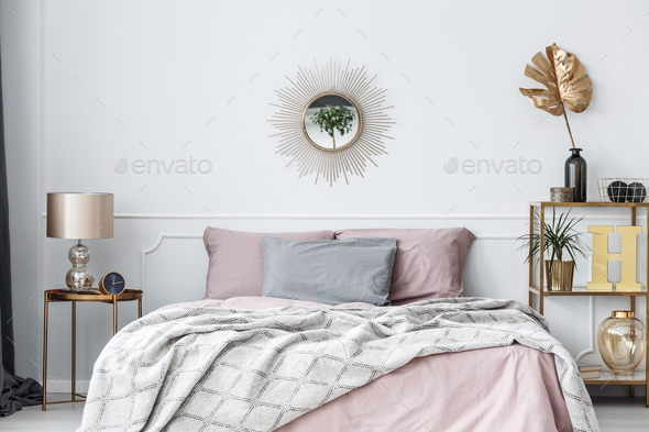Pink and gold bedroom - Stock Photo - Images