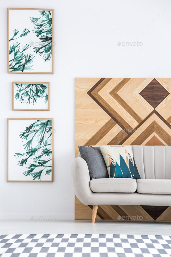 Geometric living room interior - Stock Photo - Images