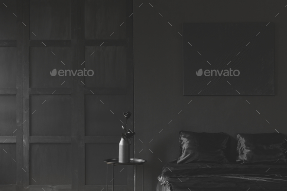 Monotone dark black bedroom interior - Stock Photo - Images