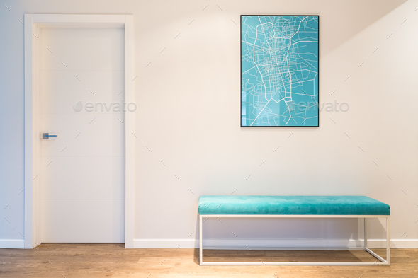 Turquoise upholstered bench seat - Stock Photo - Images