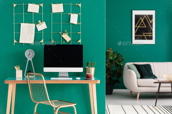 Home office with computer - Stock Photo - Images