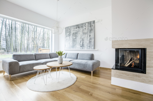 Living room interior with fireplace - Stock Photo - Images
